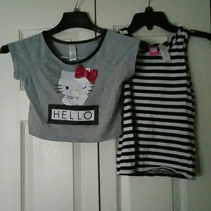 GIRL'S HELLO KITTY CROP TOP AND INNER TANK